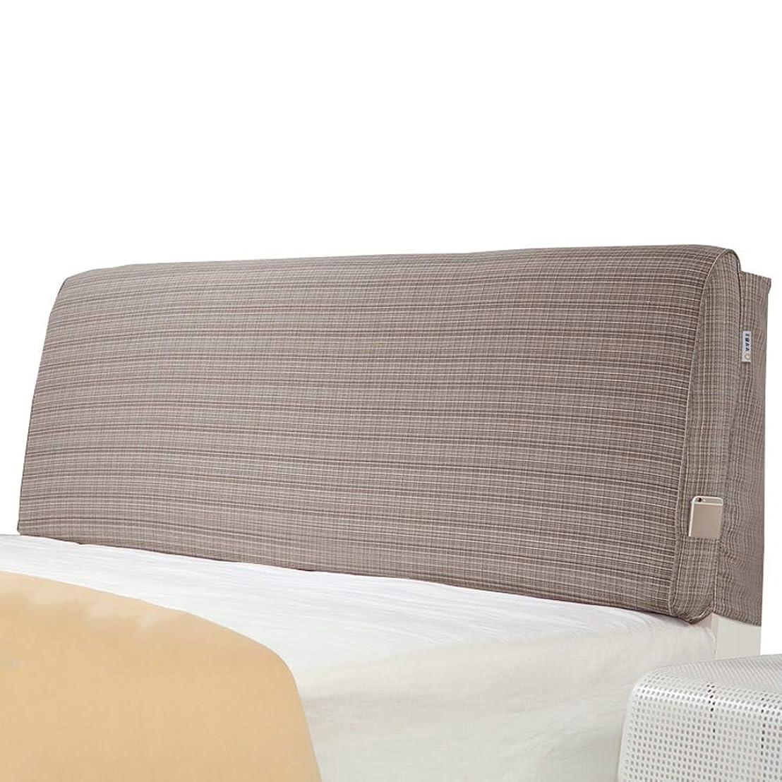力学フィード抑圧WZBヘッドボードクッション 快適なウエストサイドポケット取り外し可能、5サイズ、5色をサポート(色:A-ライトブラウン、サイズ:90x60x10cm)