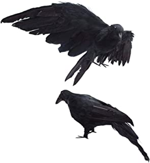 2-Pack Realistic Crows Lifesize Extra Large Handmade Black Feathered Crow for Halloween Decorations Birds, L (13 inch+12 inch)