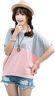 Macokingレディース tシャツ 夏服 バタフライ袖 チュニック プルオーバー ゆったり 柔らか カジュアル MからXLまで 2色展開
