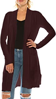 Jubilee Couture Womens Long Sleeve Soft Open Front Sweater Knit Duster Cardigan with Pockets