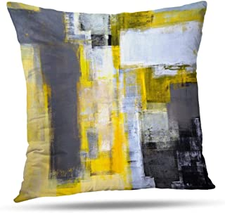 Alricc Grey and Yellow Abstract Art Modern Contemporary Pillow Cover, Artwork Decorative Throw Pillows Cushion Cover for Bedroom Sofa Living Room 20 x 20 Inch