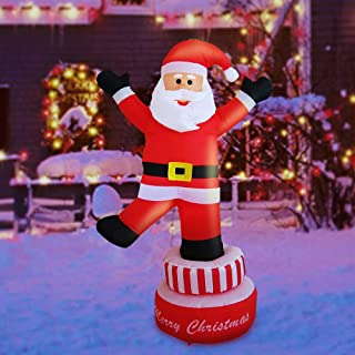 Sunlit Christmas Inflatable 5 feet LED Lighted Santa Electric Blow-Up Yard Party Decoration for Xmas Air Blown Inflatable Outdoor Christmas Decoration for Indoor and Outdoor