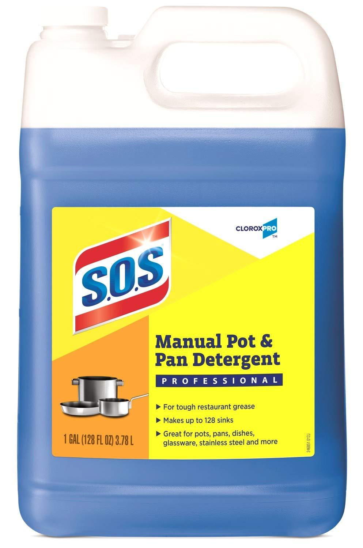 S.O.S CloroxPro Manual Pot and Pan Detergent Liquid, 128 Ounces