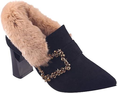LBTSQ Chaussures Femme Point Point Point 100 Séries Talon De 7 Cm De Haut Gros Talon Velours Une Pédale Seule Chaussure fd0