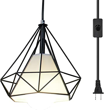 Ganeed Pendant Light,Plug in Hanging Lamps,Industrial Vintage Mini Wire Kitchen Chandeliers Fixtures with Metal Cage Shape,Hanging Lights with 16.4ft Cord On/Off Switch