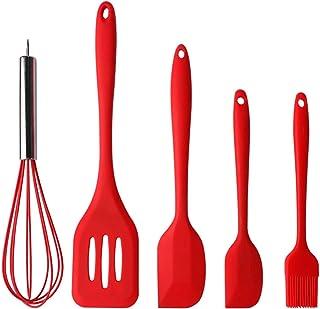 Spatule en Silicone, Ustensiles de Cuisine Kit, Outil de Cuisson Patisserie Set de 5, pour la Chaleur pour Cuisiner Spatul...