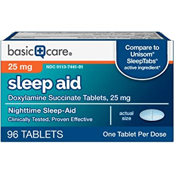Basic Care Sleep Aid Tablets, Doxylamine Succinate Tablets, 25 mg, Nighttime Sleep Aid to Help You Fall Asleep, 96 Count