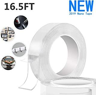 [2019 New]16.5Ft Washable Reusable Adhesive Multi-Funtion Nano Tape, Free to Remove Transparent Traceless Tape, Heavy Duty Silicone Double-Sided Tape Stick to Glass, Metal, Kitchen Cabinets or Tile