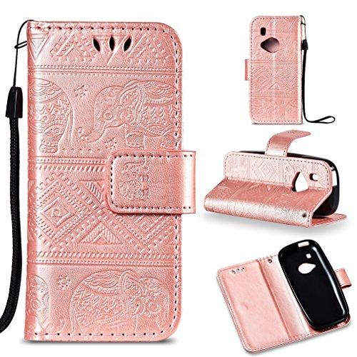 LMFULM® Hülle für Nokia 3310 PU Leder Magnet Brieftasche Lederhülle Elefant Prägung Design Stent-Funktion Handyhülle für Nokia 3310 Rosa