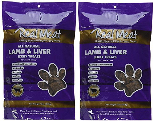 The Real Meat Company 2 Pack of Jerky Treats for Dogs, 12 Ounces each, All Natural Lamb and Liver