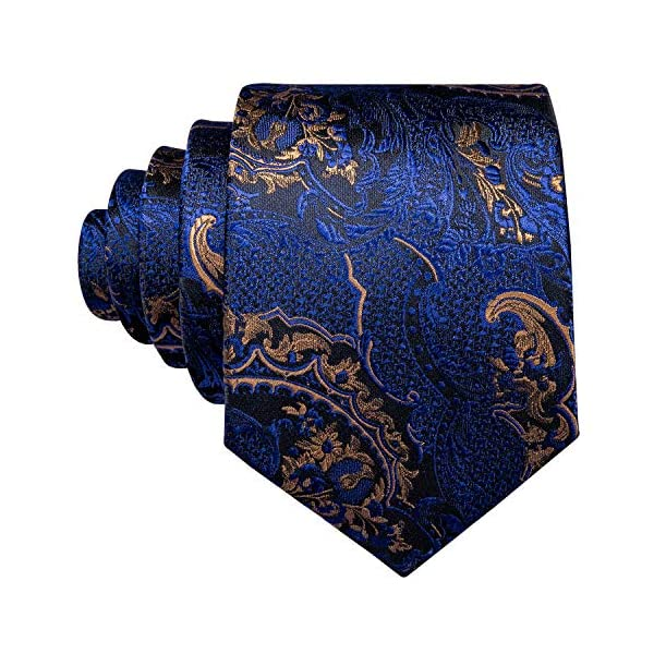 Barry.Wang Silk Tie and Pocket Square Set for Men Paisley Necktie Cufflinks Set