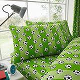 Set di lenzuola e federe per letto singolo, motivo: calcio verde