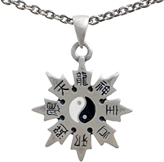 Throwing Star Yin Yang Shaolin Shuriken Pewter Pendant Stainless Steel Chain Necklace