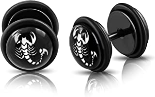 Stainless Steel Body Jewelry Black Anodized 2 Color Scorpion Zodiac Sign Faux Fake Ear Plug with O-Rings 8mm 16g