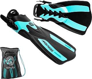 Seaview 180 RAWA Snorkel Fins, Adjustable Swim Fins for Travel, Snorkeling & Diving, Open Heel Short Flippers for Swimming...