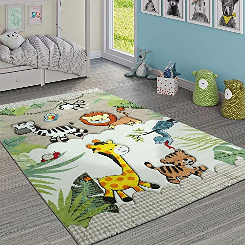 Paco Home Kinderteppich Kinderzimmer Dschungel Tiere Giraffe Löwe AFFE Zebra Beige Creme, Grösse:160x230 cm