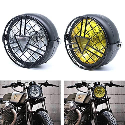 JZWDMD Universal Halogen Motorradscheinwerfer Runde Scheinwerfer mit schwarzer Halterung