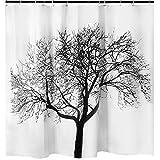 Duschvorhang mit Baum Motiv Badezimmer - Creatov Shower Curtain Vorhang für Dusche und Badewanne Anti Schimmel Curtains Waschbar Weiss Art Stoff Vorhänge 100prozent Wasserfest 177,8 x 177,8 cm