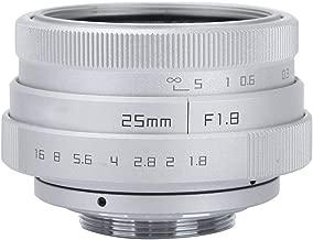 Yoidesu CCTV Lens,25mm F1.8 Mini CCTV Lens,C Mount Wide Angle Lens for Sony Nikon Canon DSLR (Silver)