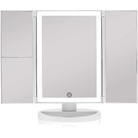 Blanc-01 Professionnel Miroir Cosm/étique avec 36 LED Lumi/ères Naturelles /à Intensit/é R/églable /Écran Tactile Miroir de Bureau Rotation 180/° Grossissant 3X//2X//1X avec Stand DeWEISN Triple Miroir de Maquillage