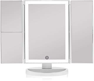 Beautyworks Backlit Makeup Vanity Mirror 36 LED Lights Touch-Screen Light Control Arctic White