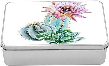 Ambesonne Cactus Metal Box, Cactus Spikes Flower in Hot Mexican Desert Sand Botanical Natural Image, Multi-Purpose Rectangula