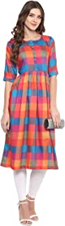 Aahwan Indian Tunic Top Kurti for Women Multi Color Rayon Long Dress
