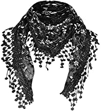 Cotchear Lace Scarf Floral Crochet Lightweight Tassel Sheer Wrap Scarves Shawl