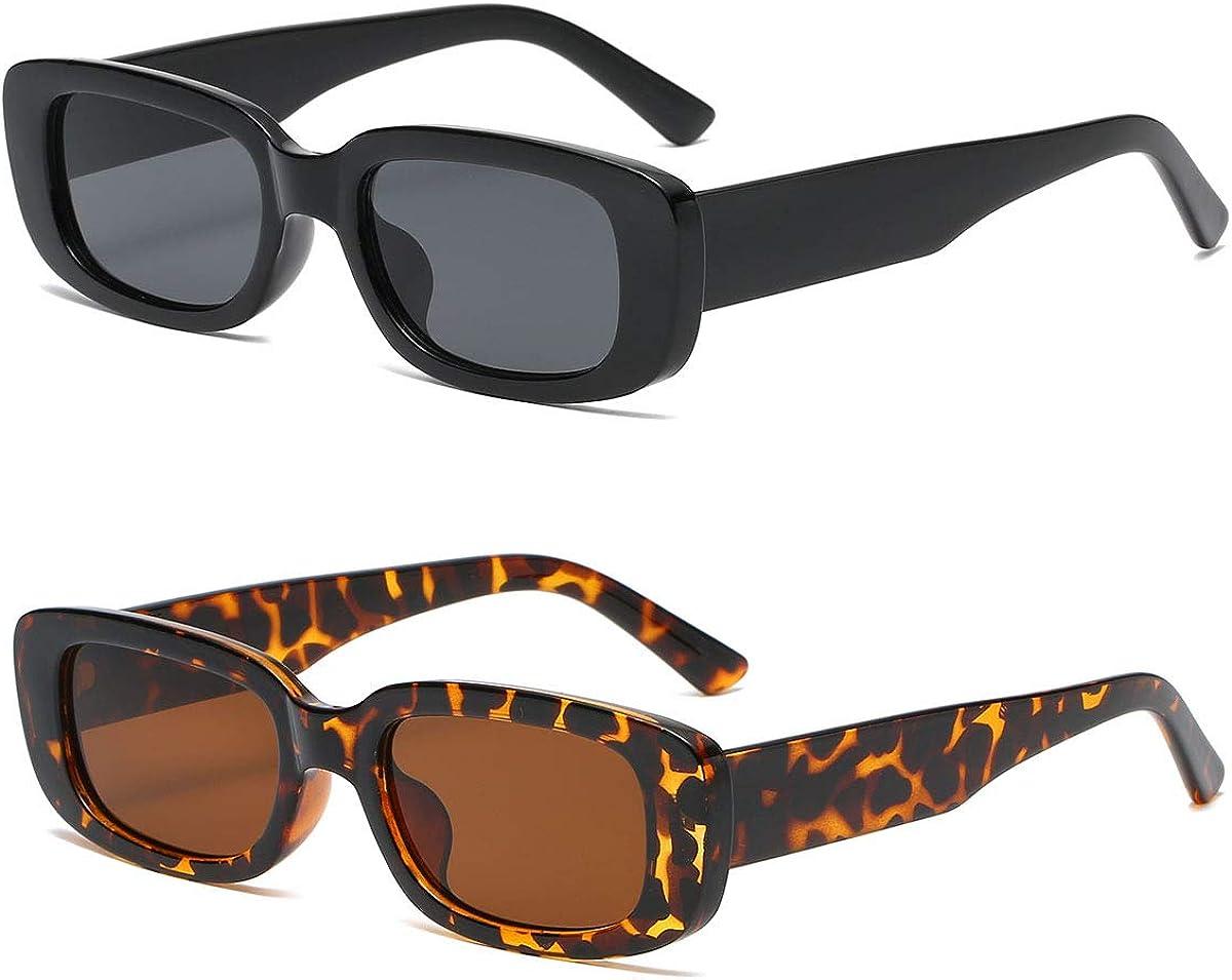 2 Pack Rectangle Sunglasses Arlington Mall For Vintage W Luxury OTICALA Glasses Women