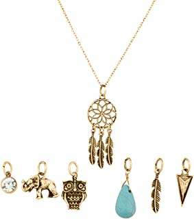 Lux Accessories Tribal Dreamcatcher Leaf Owl Elephant Spear Arrow Interchangeable Pendant Necklace