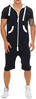 Mens Rompers Jumpsuits Shortsleeve One Piece Drawstring Hooded Tracksuits Casual Coverall Playsuits with Pockets