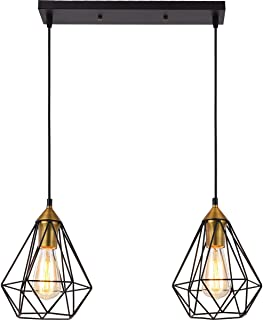 SEEBLEN 2- Light Indoor Island Pendant Light Coffee Brown Metal Hanging Ceiling Light Fixtures for Kitchen Kitchen Island Bar Dining Room Farmhouse Coffee Office