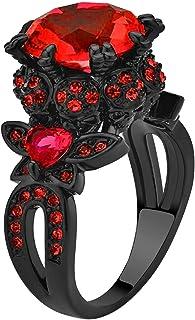 Ringcrown Black Skull Ring Round Red Cz Womens Wedding Ring Engagement Ring Punk Ring Skeleton Ring