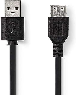 Nedis USB-Kabel | USB 2.0 | USB-A Male | USB-A Female | 480 Mbps | Vernikkeld | Rond | PVC | Zwart | Label 1.00 m 1.00 m
