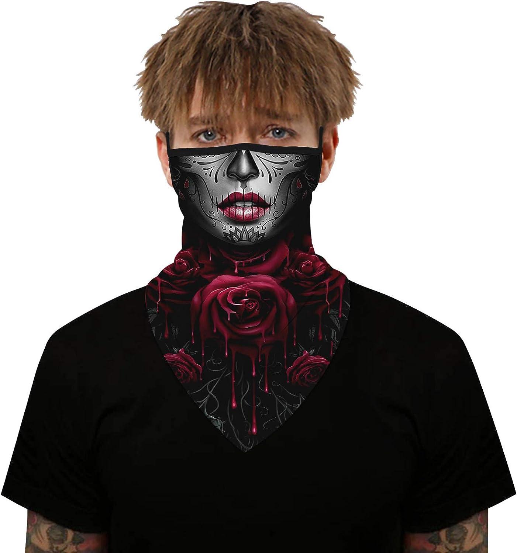 SMTM Face Mask Reusable Washable Cloth Bandanas Women Men Neck Gaiter Cover Ear Loops