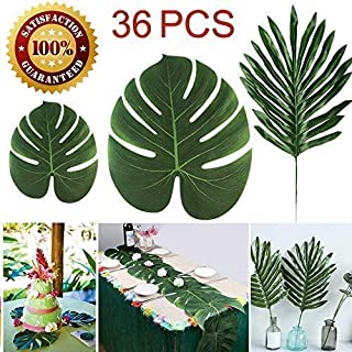 LOMIRO 36 Pcs 3 Kinds Artificial Palm Leaves Tropical Plant Faux Leaves Safari Leaves Hawaiian Luau Party Suppliers Decorations,Tiki Aloha Jungle Beach Birthday Table Leave Decorations