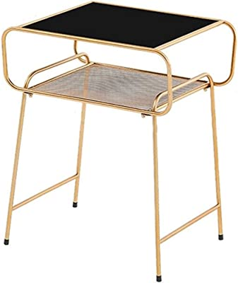 Furniture Coffee Table Wrought Iron Coffee Table Sofa Side Table Modern Minimalist Bedside Table Tempered Glass Tabletop Multi-Functional Side Tables (Color : A)