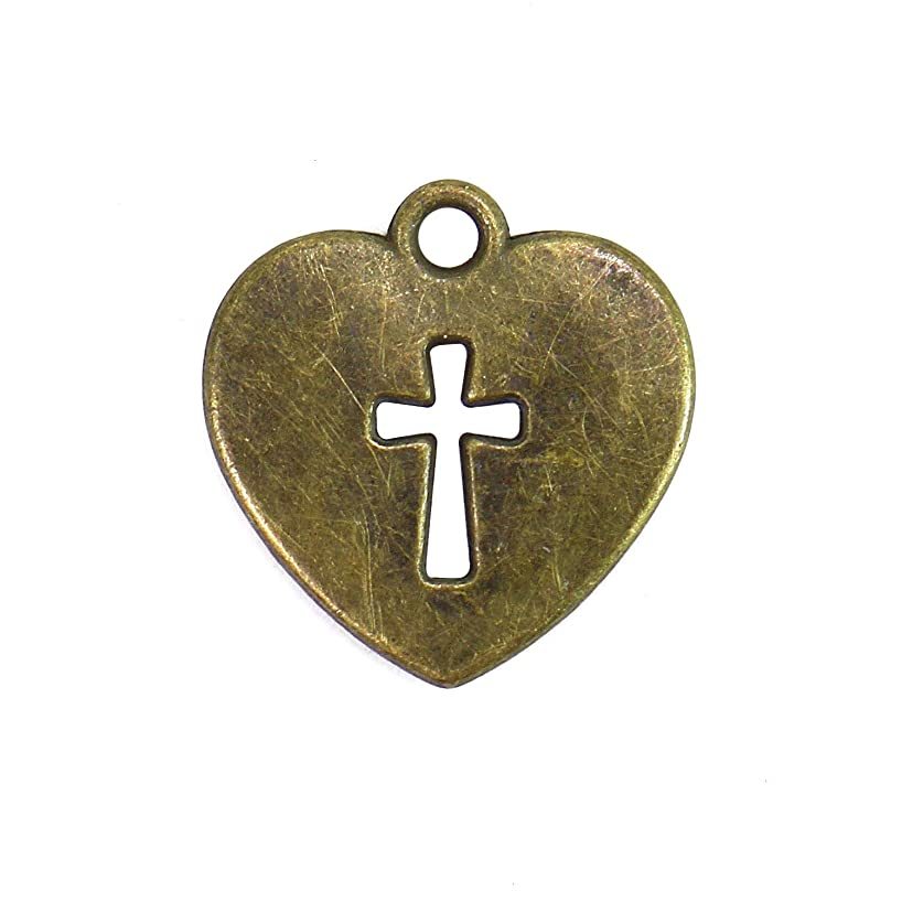 Monrocco 100 Pcs Love Heart with Cross Charms Pendants for Making Bracelet and Necklace