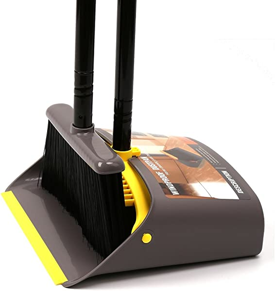 TreeLen Dust Pan And Broom Dustpan Cleans Broom Combo With 40 52 Long Handle For Home Kitchen Room Office Lobby Floor Use Upright Stand Up Dustpan Broom Set A Yellow Broom Dustpan Set