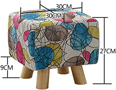 XIAOPING Stool Solid Wood Footstool Soft Shoe Bench Detachable Linen Cover (Color : B)