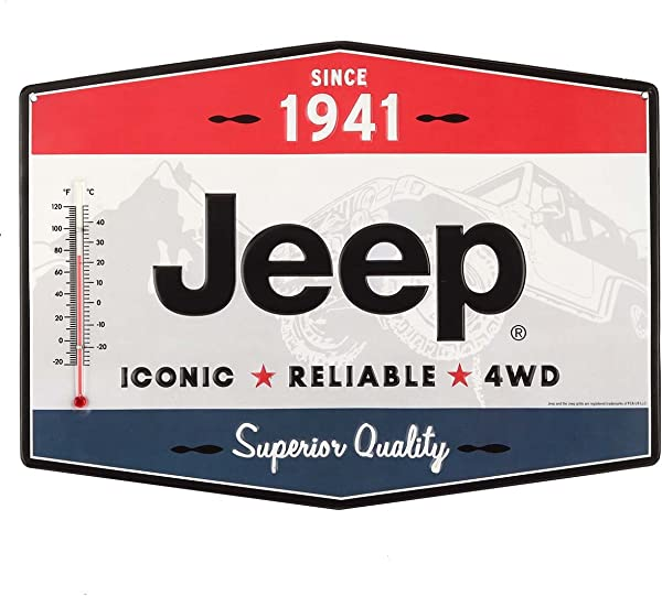 Open Road Brands Vintage Retro Metal Tin Signs Jeep Metal Thermometer Great For Garages Man Caves Wall Art Home Decor And Much More