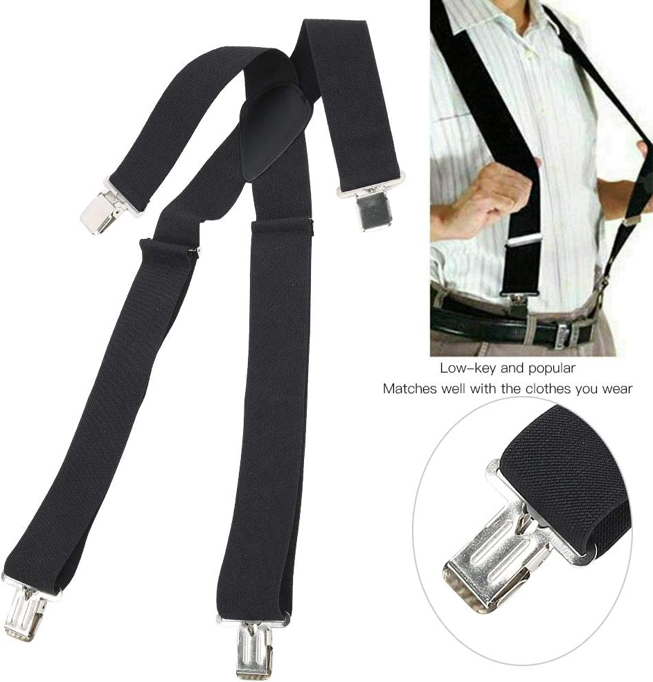 GLOGLOW Men's Solid Clip Suspenders, Men's Classic 50mm Wide Clip Suspenders Wide Suspenders Strap Clip X Type Elastic Heavy Duty Men's Strip Sling Decor