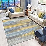 Alfombra recibidor Interior,Amarillo, Alfombra Azul patrón de Tinta con sofá insonorizado Resistente a la Alfombra Transpirable ,alfombras Grandes Baratas -Amarillo_160x230cm