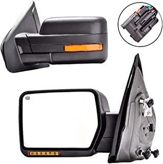 DEDC Towing Mirrors Ford F150,Ford Tow Mirrors,2007-2014 Pair Power Heated,Turn Signal Lights,Back Reflector 2007 2008 2009 2010 2011 2012 2013 2014