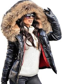 معطف Aofur للنساء مبطن للشتاء من الفرو ياقة مقنعين أسفل جاكيت باركا خارجي