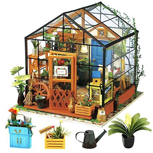 Robotime Puppenhaus DIY Gewächshaus Holz Zubehör - Miniatur Möbel Bausatz- Mini-Raum für Erwachsene und Kinder - Geburtstags Mädchen und Jungen