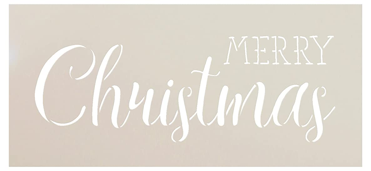 Merry Christmas Stencil by StudioR12 | Trendy Rustic Script Word Art - Reusable Mylar Template | Painting, Chalk, Mixed Media | Use for Crafting, DIY Home Decor - STCL1397 … SELECT SIZE (13