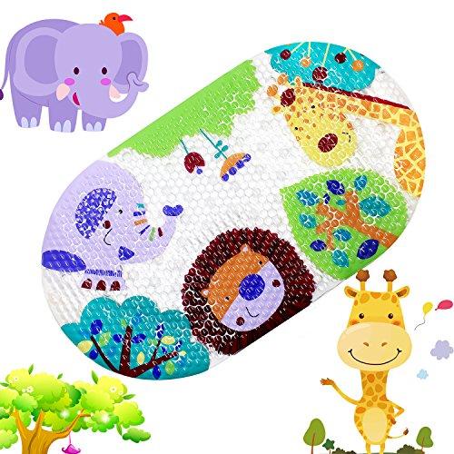 Topsky Tappetino antiscivolo, da doccia o vasca per bambini, con ventose e stampa di animali a colori vivaci, 39cm x 69cm Colorful Zoo
