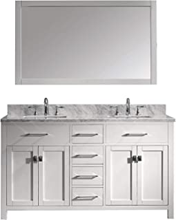 Virtu USA Caroline 60 inch Double Sink Bathroom Vanity Set in White w/ Square Undermount Sink, Italian Carrara White Marble Countertop, No Faucet, 1 Mirror - MD-2060-WMSQ-WH