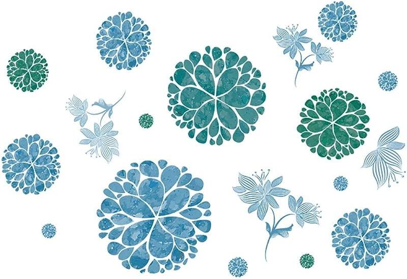 LiveGallery Ceative Blue Flowers Wall Decals Removabel Vinyl Hydrangea Flower Wall Sticker Murals Flower Vines Wall Art For Living Room Kids Bedroom Bathroom Nursery Rooms Decoration 85cm120cm